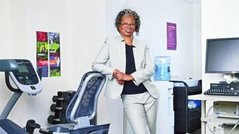 Dr. Lucile Adams-Campbell photographed standing in her oncology clinic.